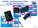 aster csci component role in ast exp insertion