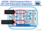 aster csci component role in ast exp subscription registration