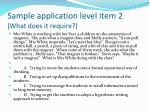 sample application level item 2 what does it require