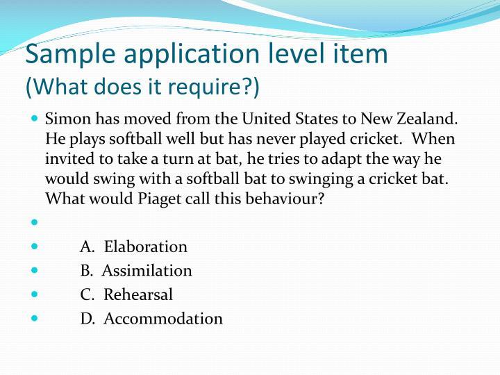 Sample application level item