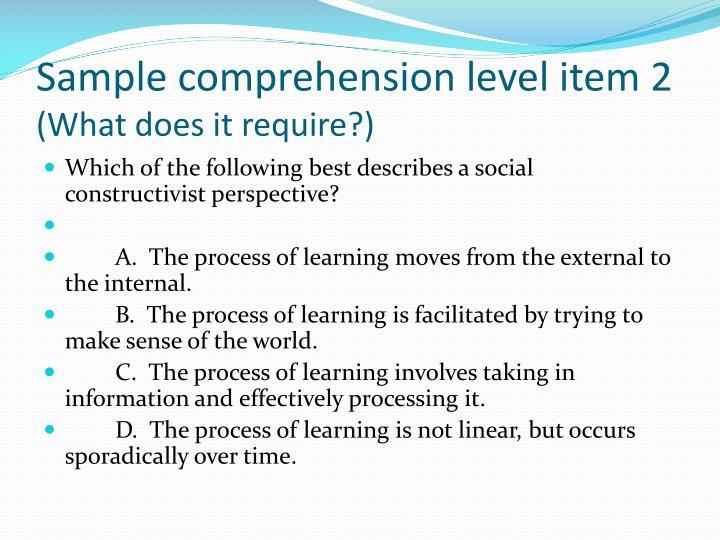 Sample comprehension level item 2