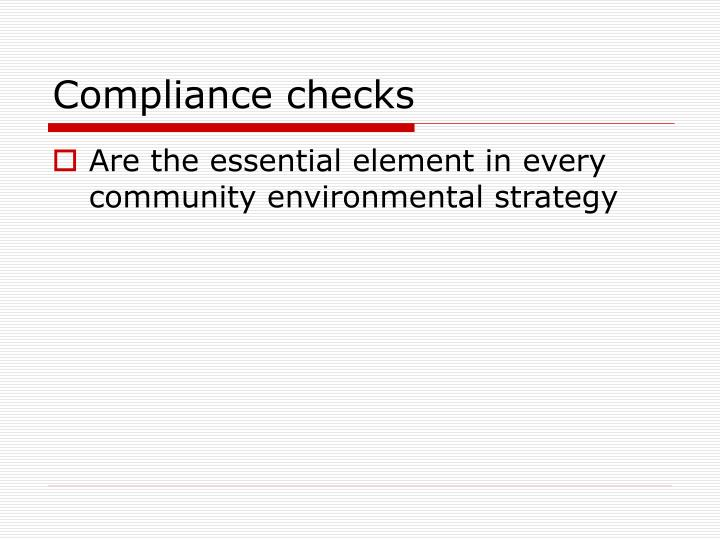 Compliance checks
