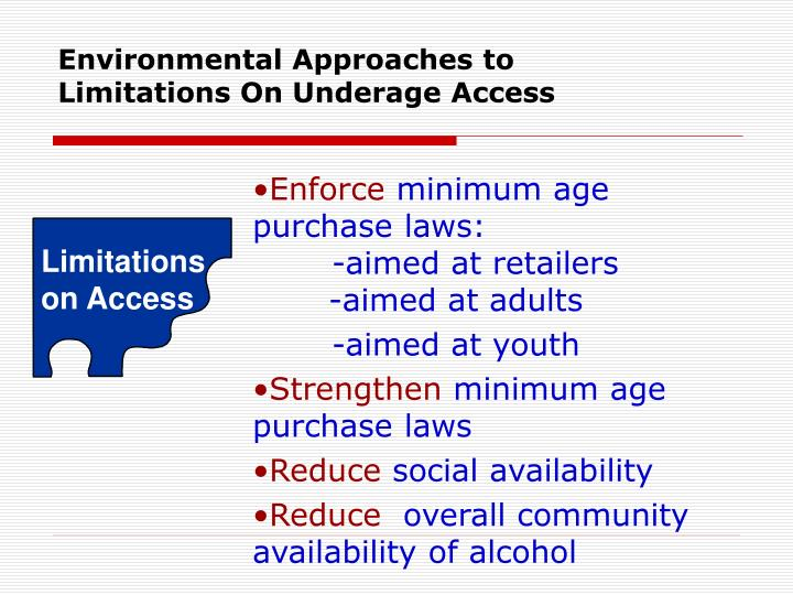 Environmental Approaches to Limitations On Underage Access