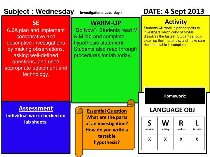 Subject : Wednesday