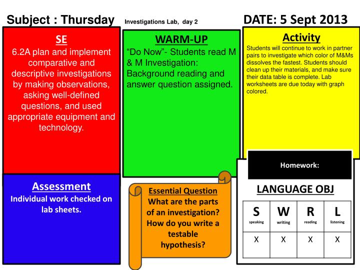 Subject : Thursday