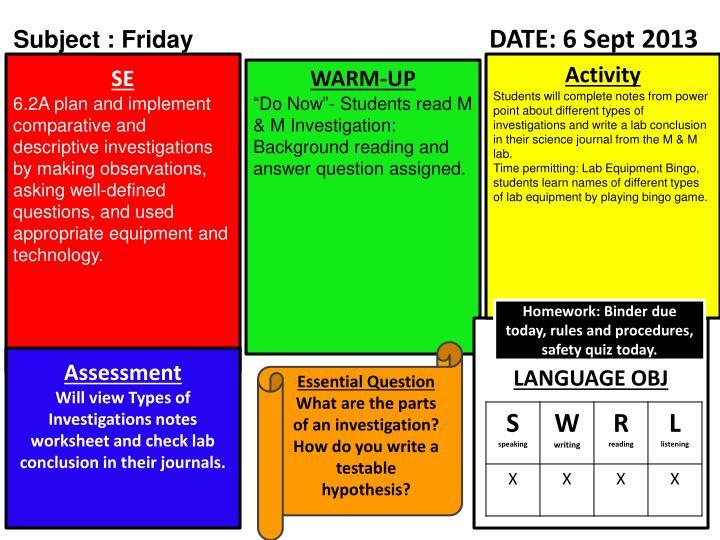 Subject : Friday