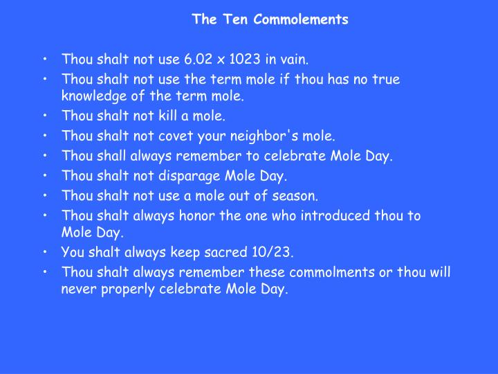 The Ten Commolements