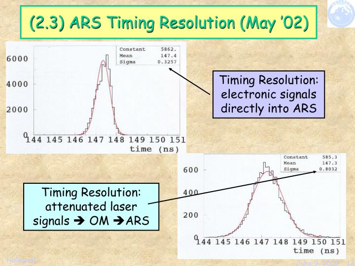Timing Resolution: electronic signals directly into ARS