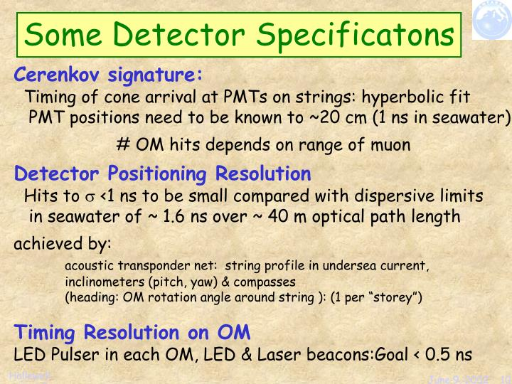 Some Detector Specificatons