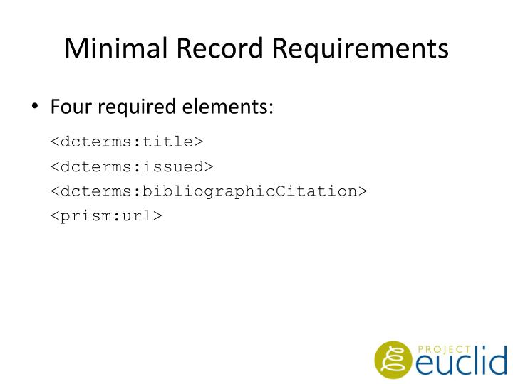 Minimal Record Requirements