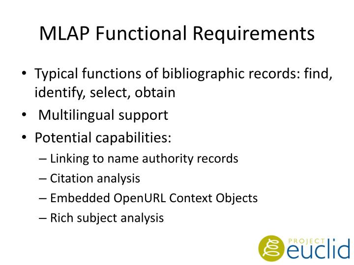 MLAP Functional Requirements