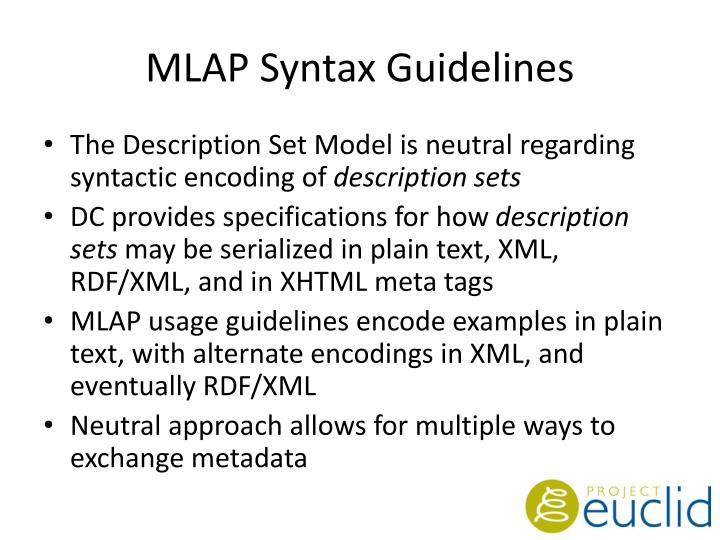 MLAP Syntax Guidelines
