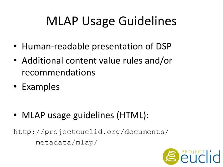 MLAP Usage Guidelines
