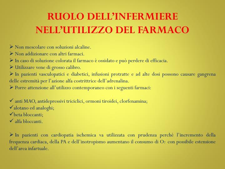 RUOLO DELL'INFERMIERE NELL'UTILIZZO DEL FARMACO