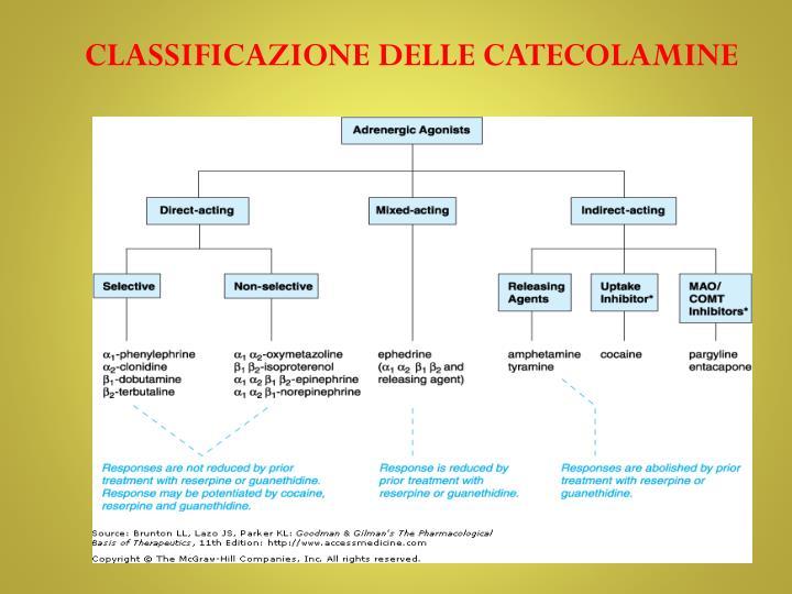 CLASSIFICAZIONE DELLE CATECOLAMINE
