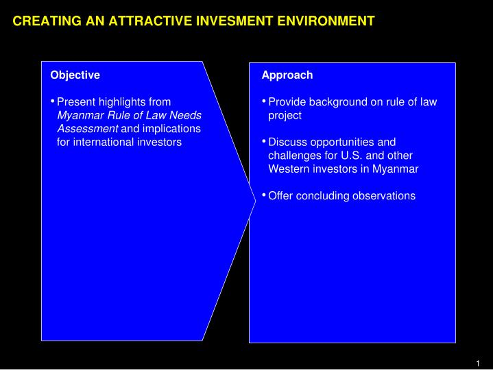 Creating an attractive invesment environment
