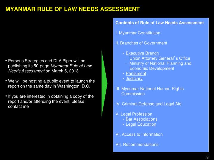 MYANMAR RULE OF LAW NEEDS ASSESSMENT
