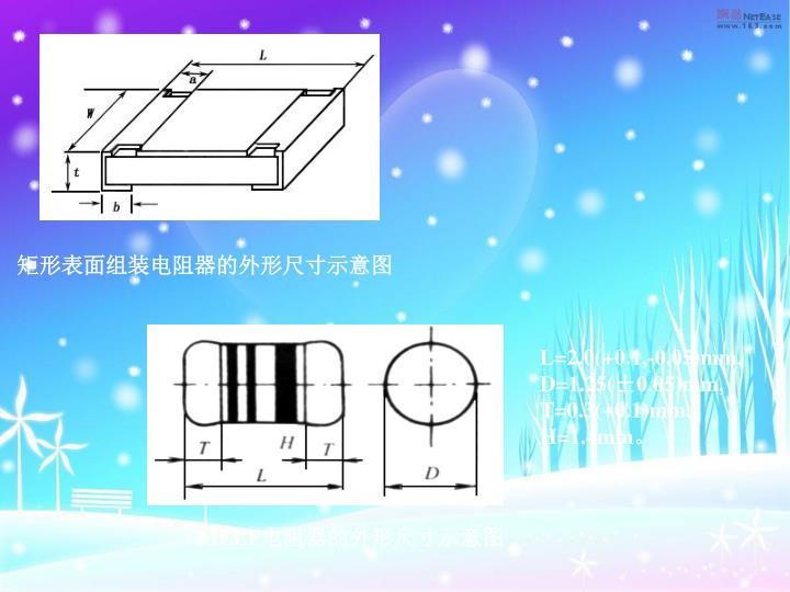 矩形表面组装电阻器的外形尺寸示意图