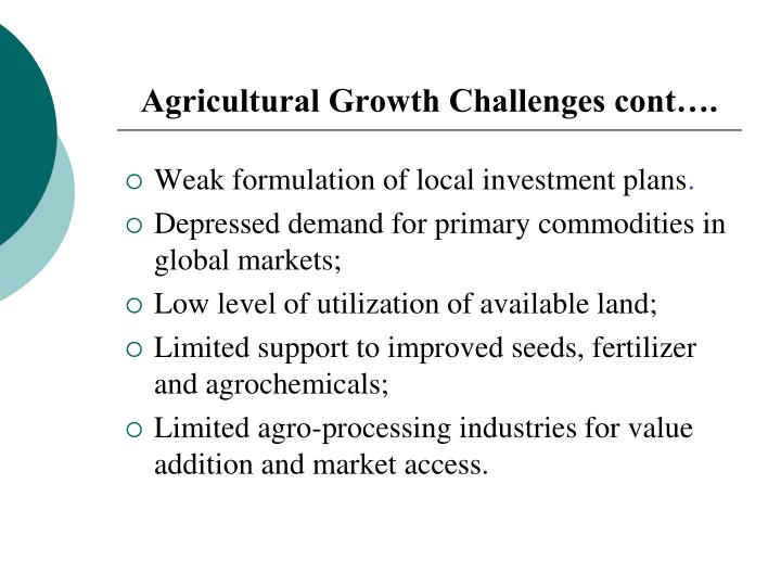 Agricultural Growth Challenges cont….