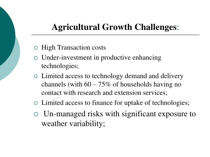 Agricultural growth challenges