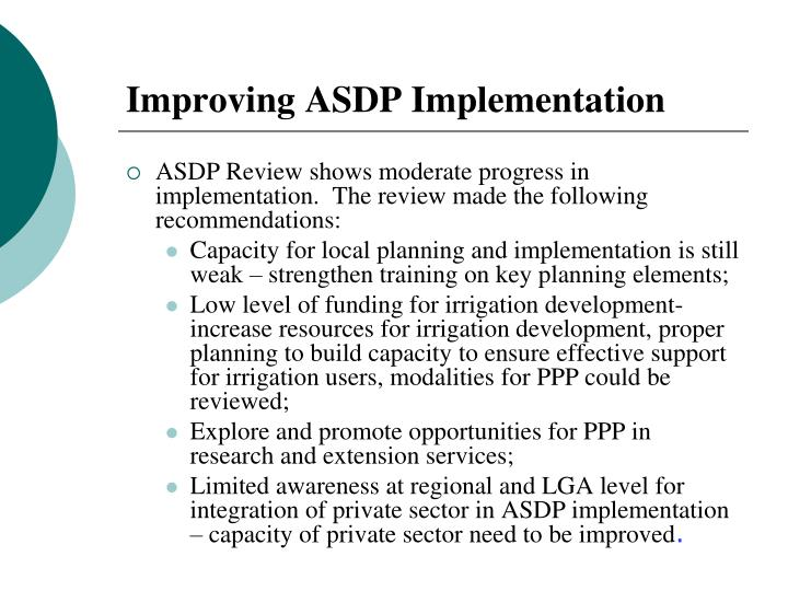 Improving ASDP Implementation