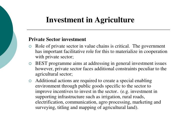 Investment in Agriculture