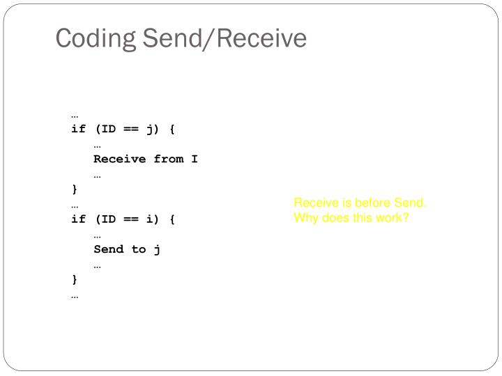 Coding Send/Receive