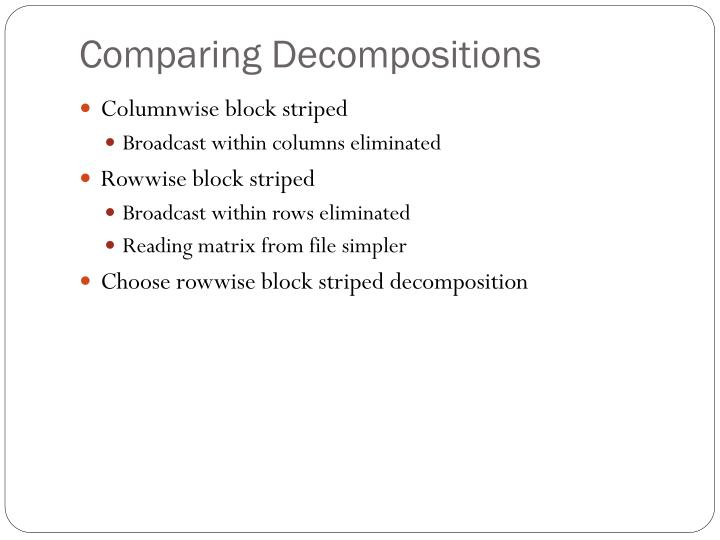 Comparing Decompositions