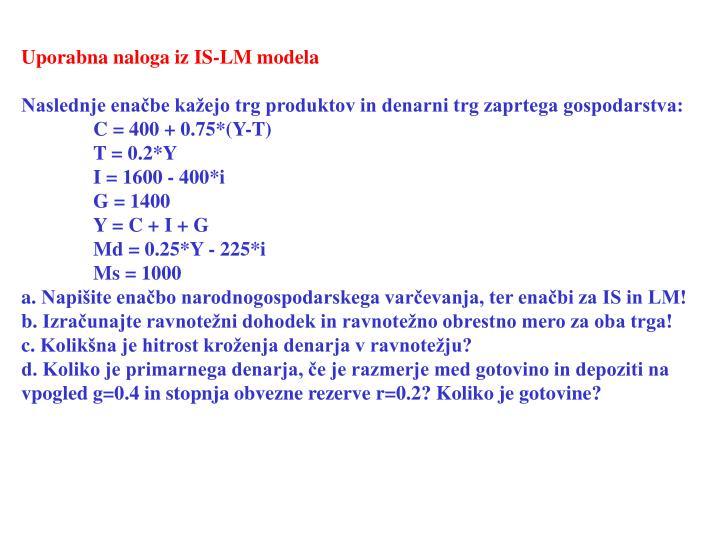 Uporabna naloga iz IS-LM modela