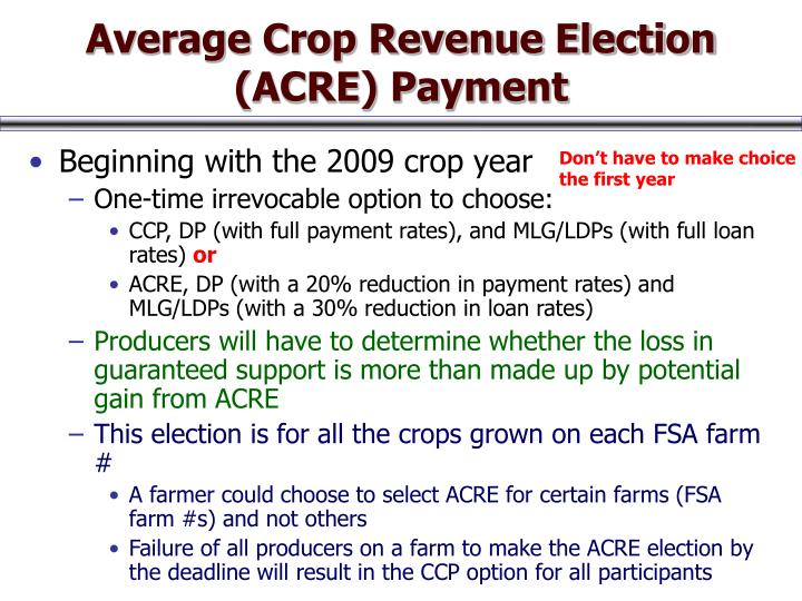 Average Crop Revenue Election (ACRE) Payment