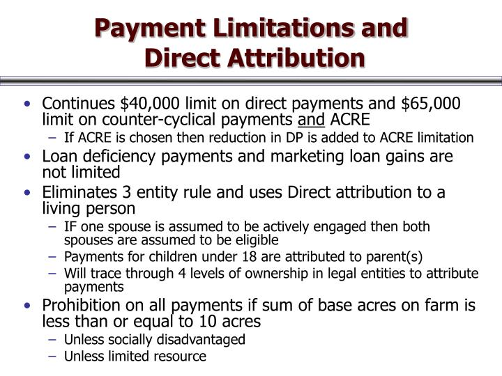 Payment Limitations and