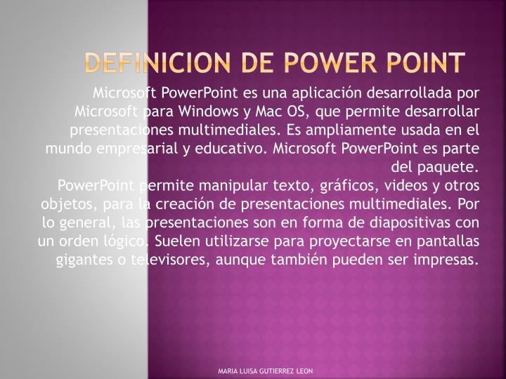 DEFINICION DE POWER POINT
