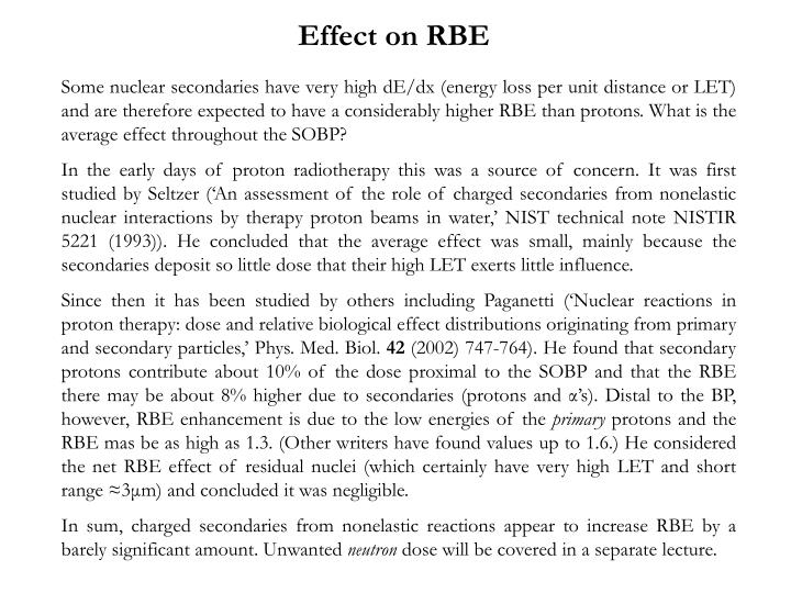 Effect on RBE