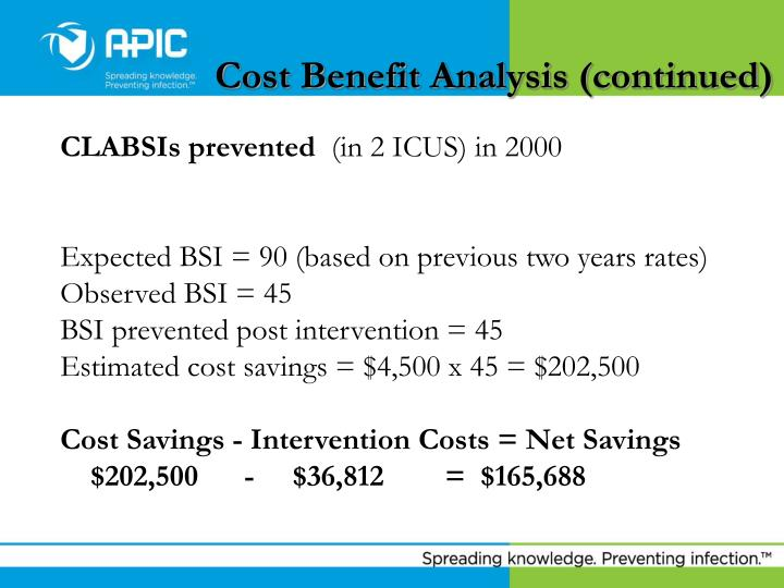 Cost Benefit Analysis (continued)