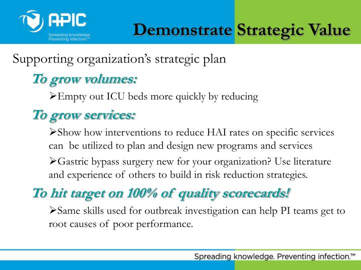 Demonstrate Strategic Value
