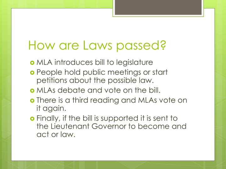 How are Laws passed?