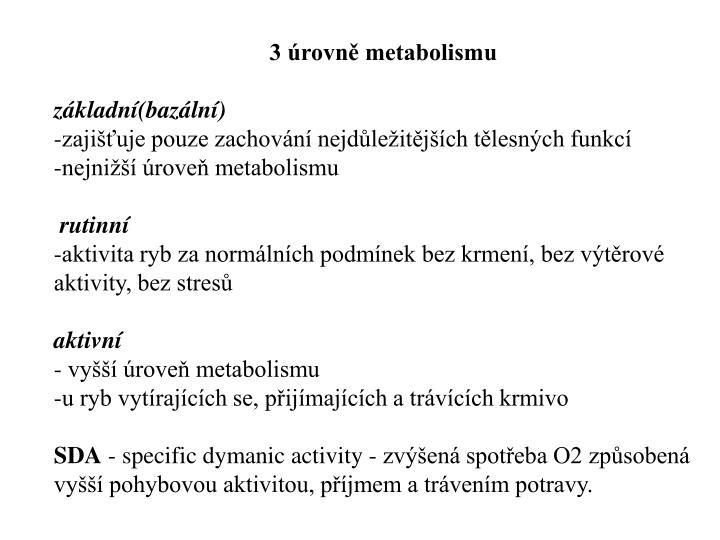 3 úrovně metabolismu