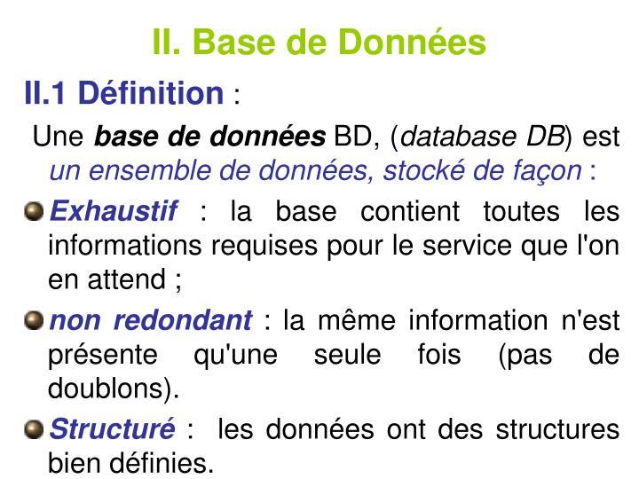 II. Base de Donnes