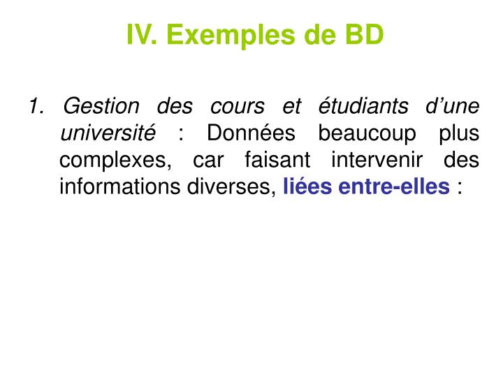 IV. Exemplesde BD