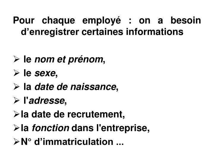 Pour chaque employ : on a besoin denregistrer certaines informations