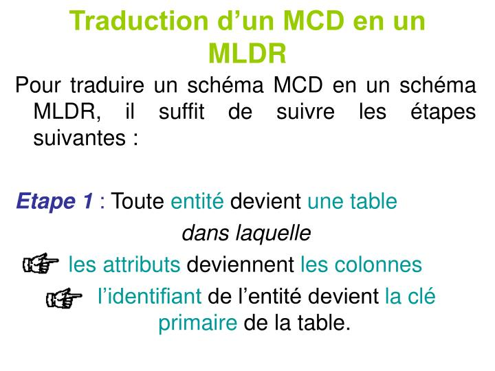 Traduction d'un MCD en un MLDR