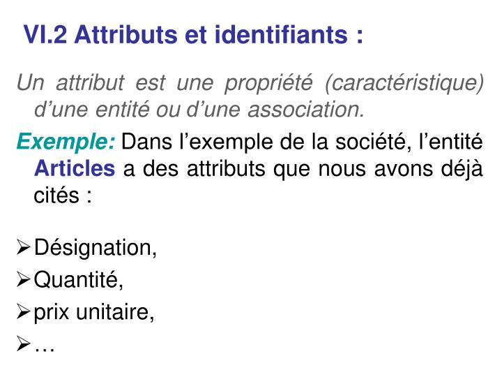 VI.2 Attributs et identifiants