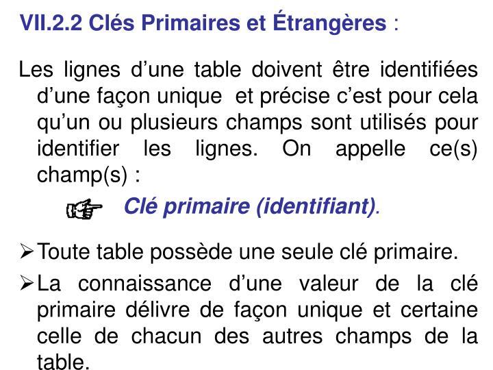 VII.2.2 Cls Primaires et trangres