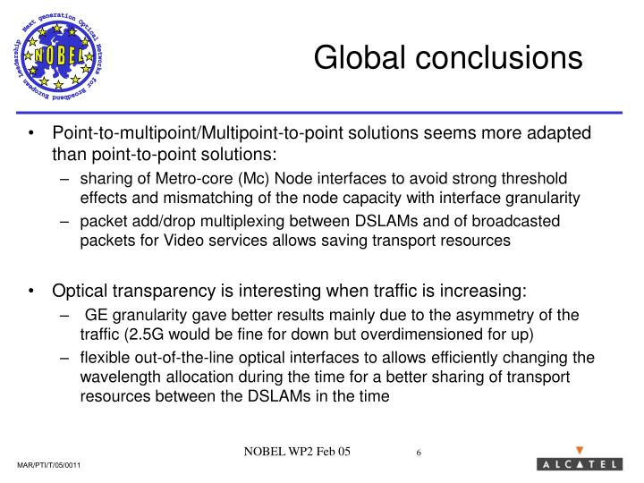 Global conclusions