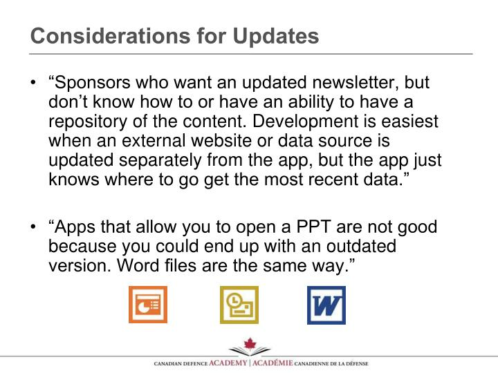 Considerations for Updates