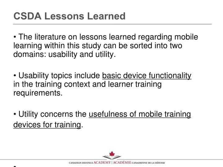 CSDA Lessons Learned