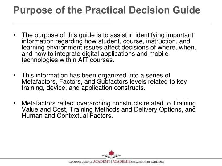 Purpose of the Practical Decision Guide