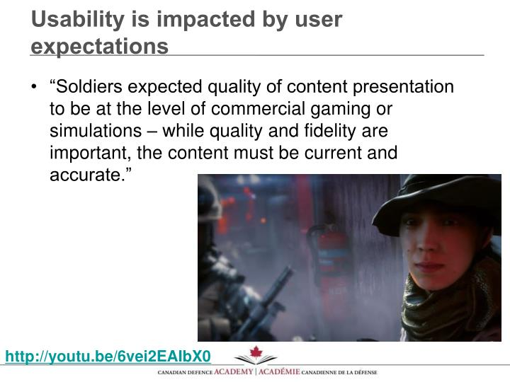 Usability is impacted by user expectations