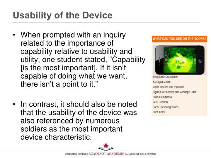 Usability of the Device