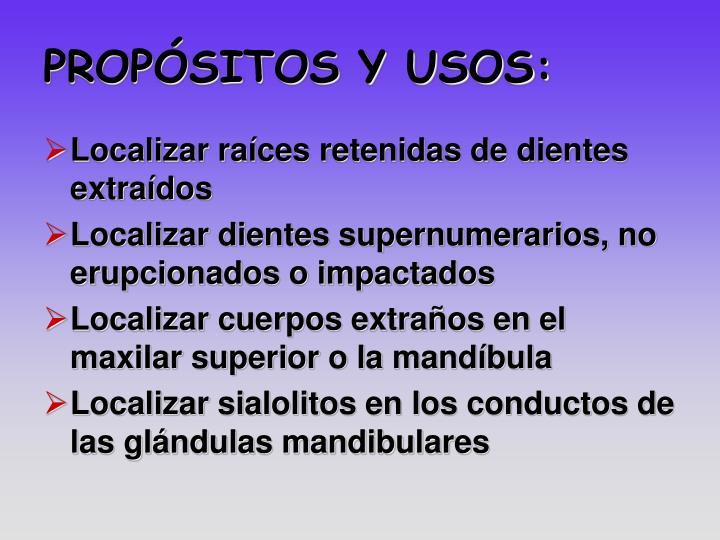 PROPÓSITOS Y USOS: